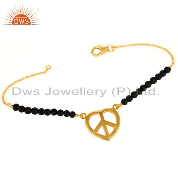 Natural Black Onyx Beads Gold Plated Sterling Silver Peace Adjustable Bracelet