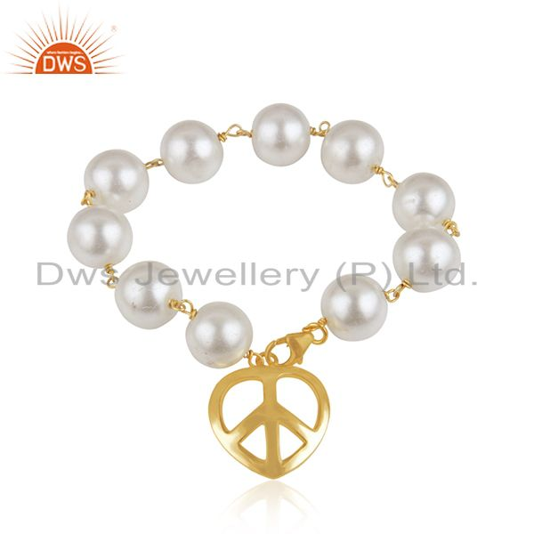 18K Yellow Gold Plated Sterling Silver Pearl Beaded Bracelet With Peace Charms