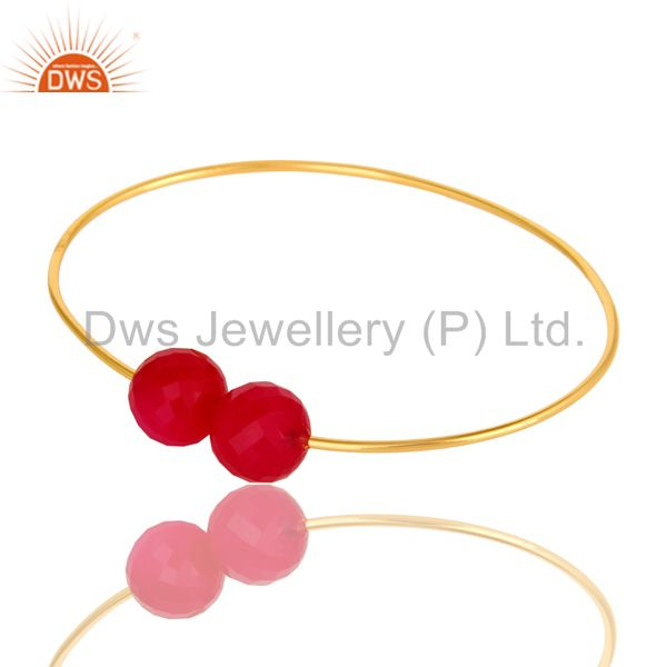 14k yellow gold plated sterling silver faceted pink chalcedony adjustable bangle