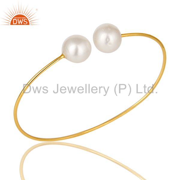 14k gold plated sterling silver natural white pearl stackable open bangle