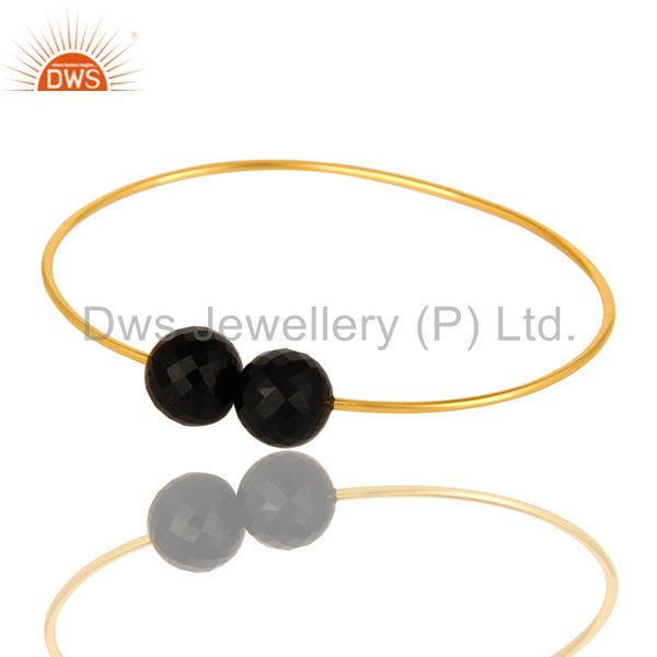 14k yellow gold plated sterling silver faceted black onyx adjustable bangle