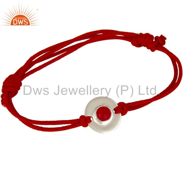 925 Sterling Silver Red Chalcedony Disc Red Cord Macrame Adjustable Bracelet
