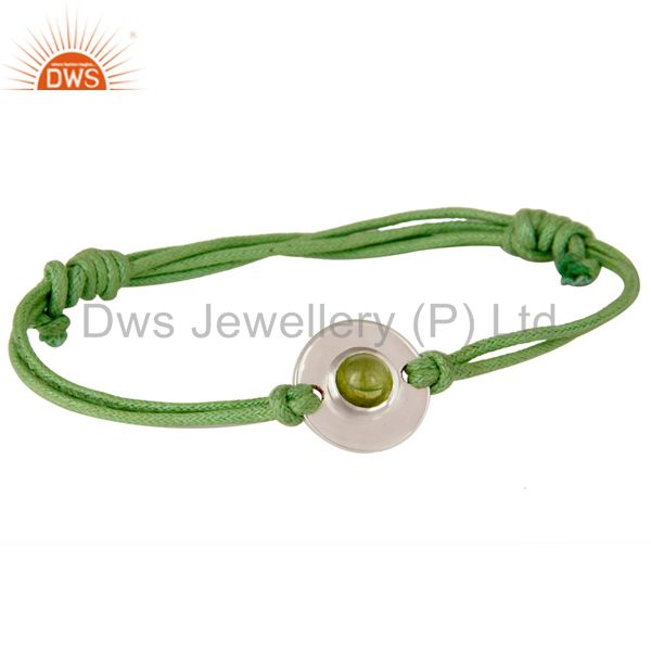 925 sterling silver peridot disc green cord macrame adjustable bracelet