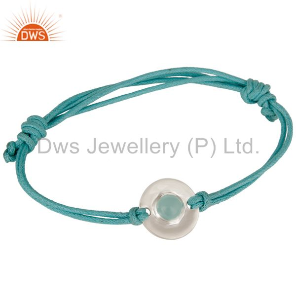 925 Sterling Silver Blue Chalcedony Disc Cord Macrame Adjustable Bracelet