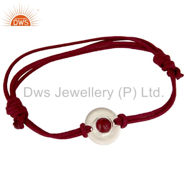 925 Sterling Silver Ruby Gemstone Disc Red Cord Macrame Adjustable Bracelet