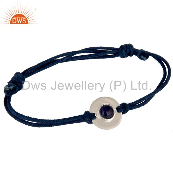 925 sterling silver blue sapphire disc cord macrame fashion adjustable bracelet