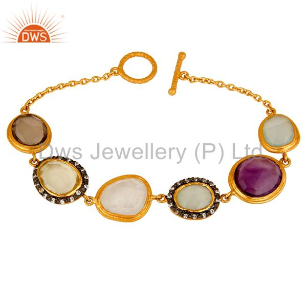22K Yellow Gold Plated Sterling Silver Multi Colored Gemstone Bracelet With CZ
