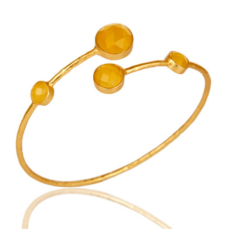 18K Yellow Gold Plated Yellow Moonstone Sterling Silver Handmade Cuff Bangle