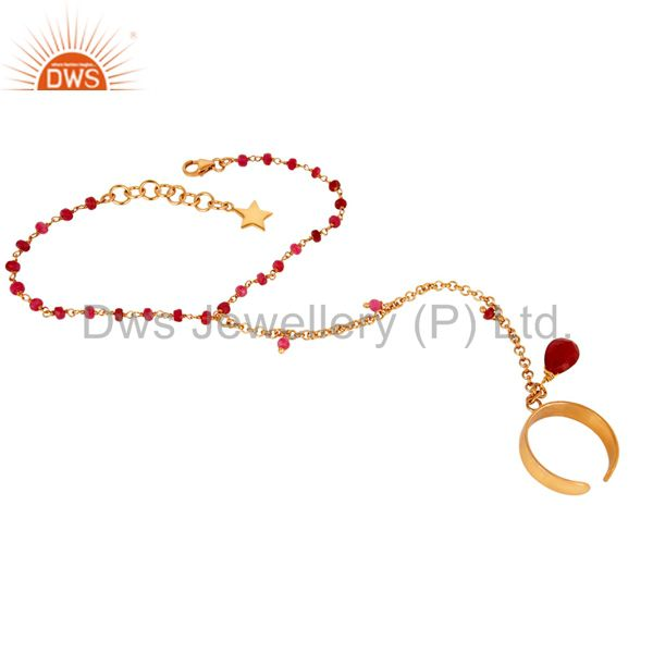24K Gold Plated Sterling Silver Natural Ruby Beads Chain Palm Bracelet Jewellery