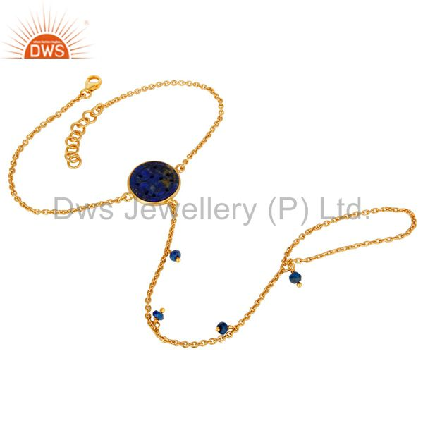 Handmade natural lapis 18k gold plated sterling silver palm bracelet