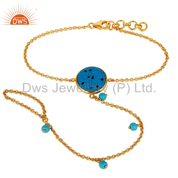 Natural Turquoise 18K Gold Plated Sterling Silver Palm Bracelet