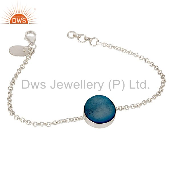 Handmade Natural Blue Druzy 925 Sterling Silver Chain Bracelet