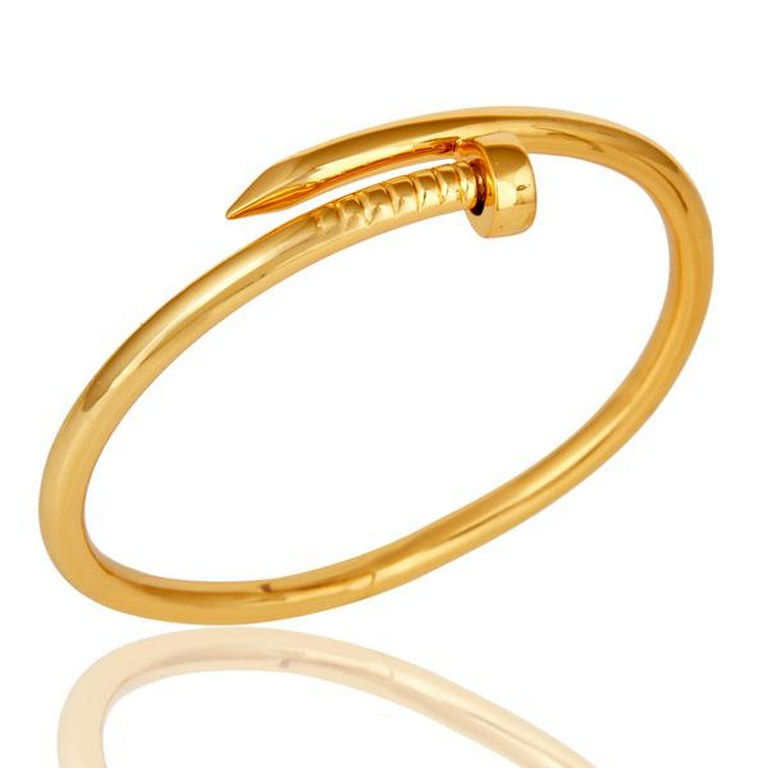 18K Gold Plated Screw Style Cuff Sterling Silver Cuff Band Bangle