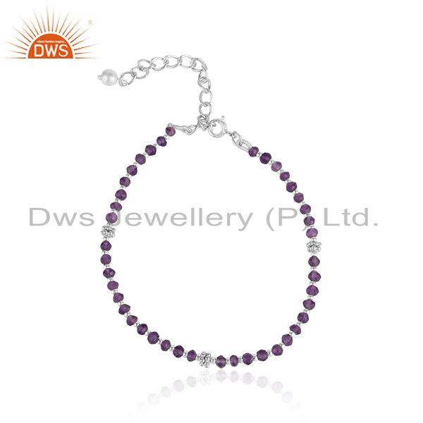 White Rhodium Plated Silver Amethyst Bead Gemstone Chain Bracelet