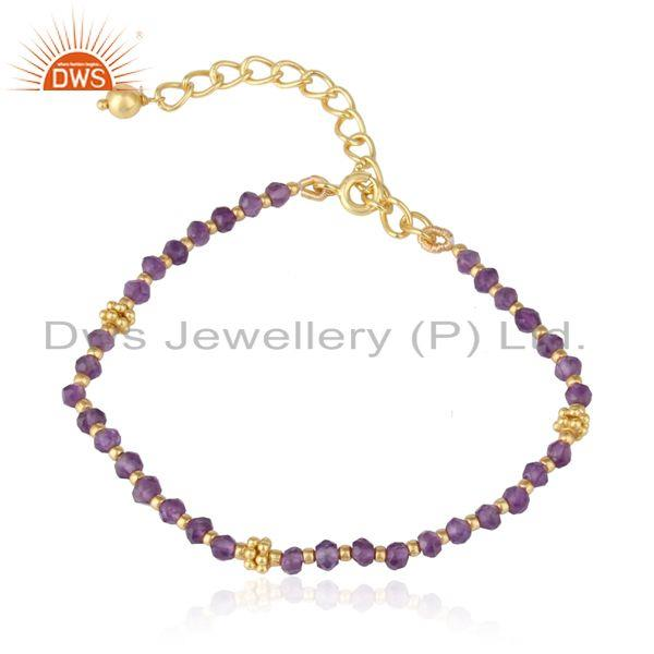 Designer amethyst bead bracelet in yellow gold on silver