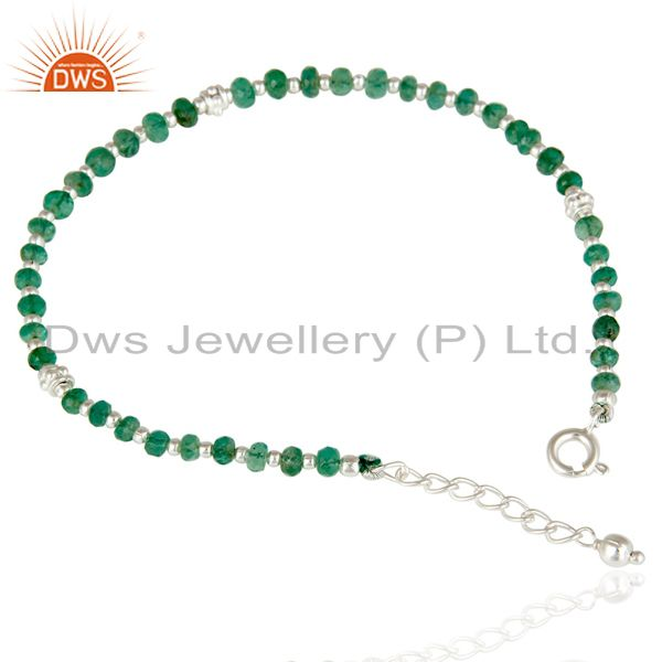 Handmade solid 925 sterling silver faceted emerald beads chain bracelet jewelery