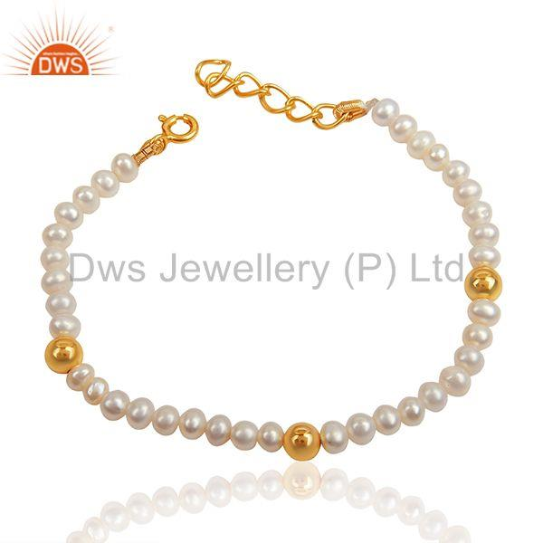 Solid 925 Silver Gold Plated Natural Beaded Pearl Bracelet Jewelry