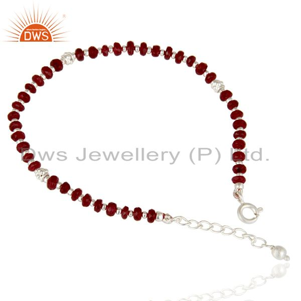 Solid 925 sterling silver faceted ruby gemstone beads chain bracelet