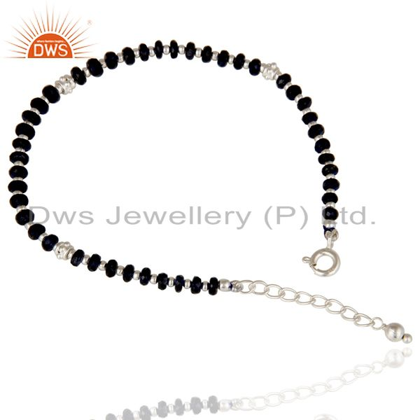 Solid 925 sterling silver blue sapphire gemstone beads chain bracelet