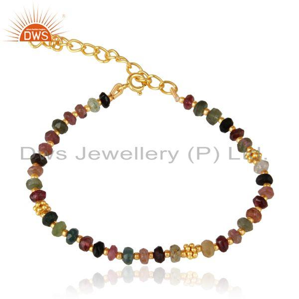 Designer Multi Toumaline Bead Bracelet in Yellow Gold on Silver