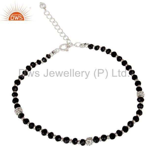 Black Onyx Beaded Gemstone Sterling Silver Girls Bracelet Supplier