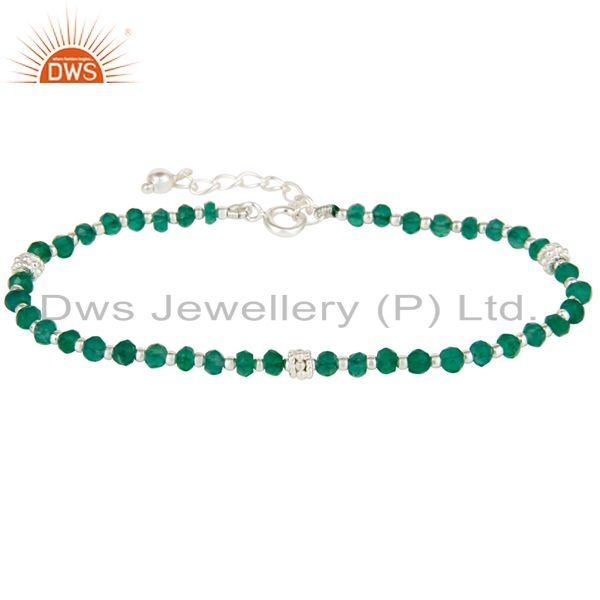 Handmade Solid 925 Sterling Silver Green Onyx Gemstone Beads Chain Bracelet
