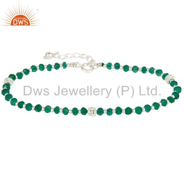 Green Onyx Beaded 925 Silver Gemstone Chain Bracelet Manufacturers
