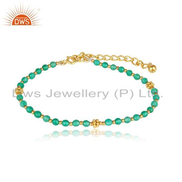 Designer Green Onyx Bead Bracelet in Yellow Gold on Silver 925