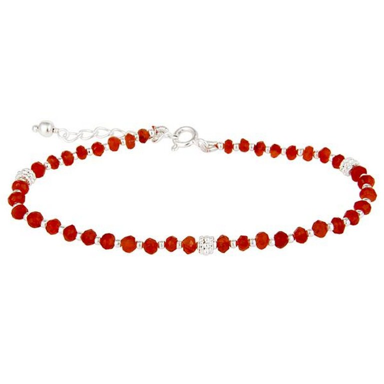 Handmade solid 925 sterling silver red onyx gemstone beads chain bracelet