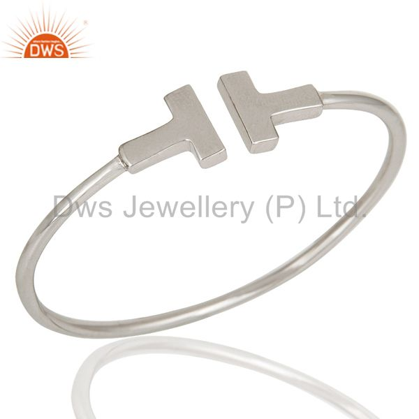 Narrow wire t shape 925 sterling silver wire cuffs jewellery