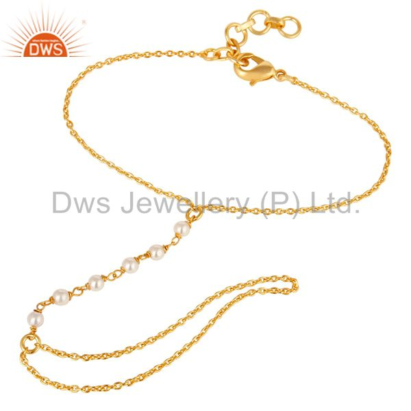 Traditional handmade 18k gold plated pearl bead brass chain bracelet jewellery