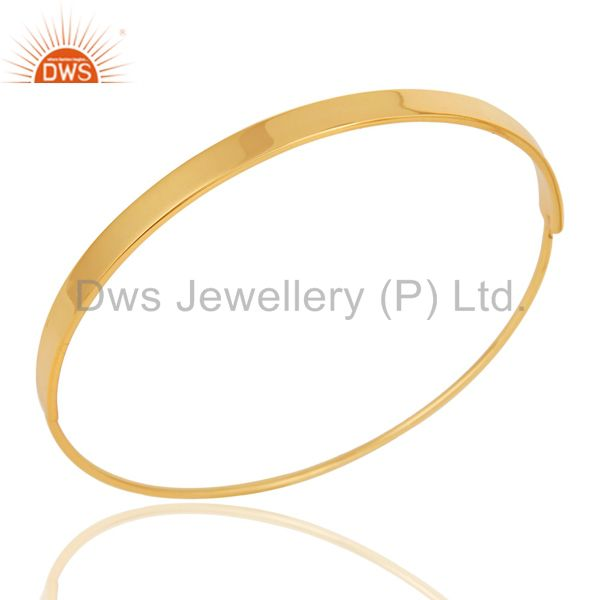 18k gold plated 925 sterling silver handmade simple fashion bangle