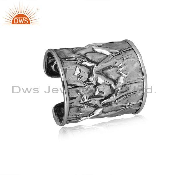 Handhammered Oxidized Silver Designer Abstract Style Cuff