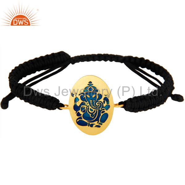 18K Gold Plated Sterling Silver Indian God Ganesha Blue Enamel Macrame Bracelet
