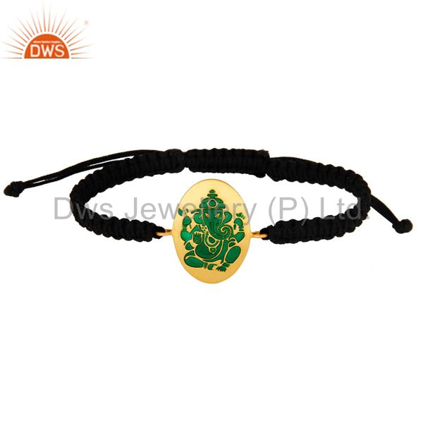 18K Gold Plated Sterling Silver Indian God Ganesha Green Enamel Macrame Bracelet