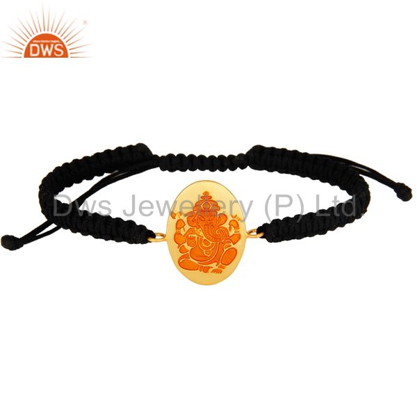 18K Gold Plated Sterling Silver Indian God Ganesha Orange Enamel Macram Bracelet