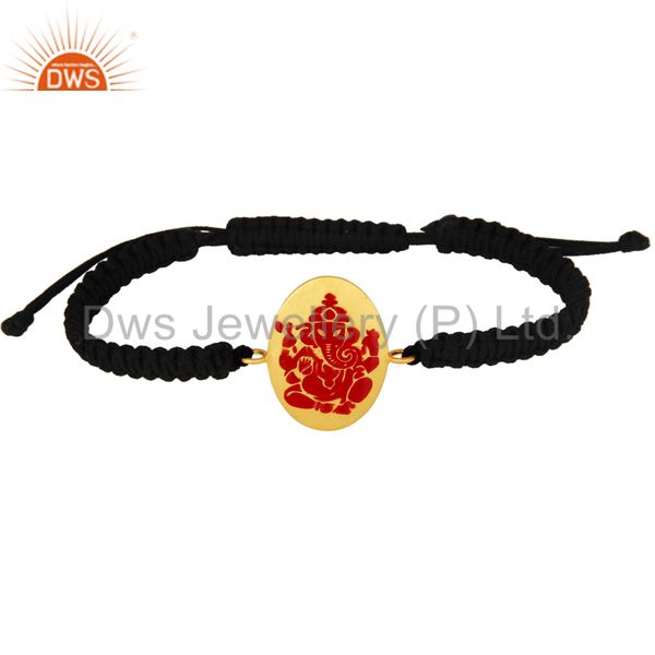 18K Gold Plated Sterling Silver Indian God Ganesha Red Enamel Macrame Bracelet