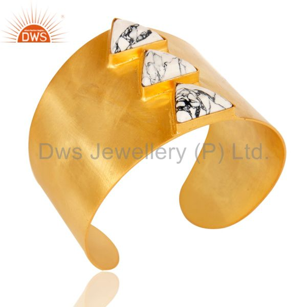22K Yellow Gold Plated Handmade White Howlite Gemstone Brass Openable Jewellery