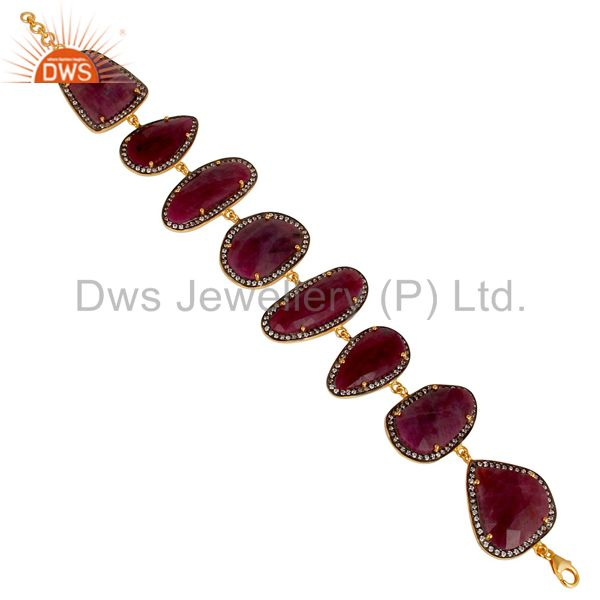 14K Gold Plated 925 Sterling Silver Checkered Ruby & White Zirconia Bracelet