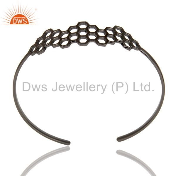 Black oxidized 925 silver handmade new fashion openable palm bangle
