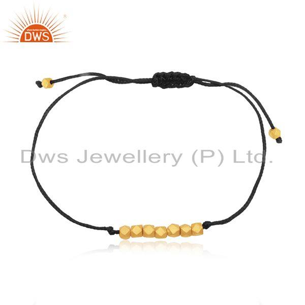 14k yellow gold plated 925 silver black cord adjustable bracelet manufacturer