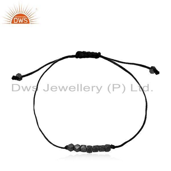 Black rhodium plated sterling silver beaded cord bracelet manufacturer