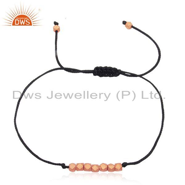 Rose gold plated sterling silver beads leather and cord bracelet manufacturer