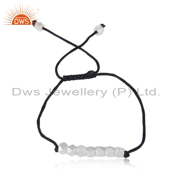 925 sterling silver beads handmade cord macrame bracelet manufacturer india
