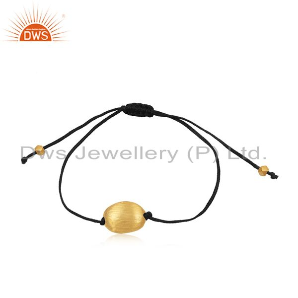 Gold plated 925 sterling silver handmade cord bracelet manufacturers india