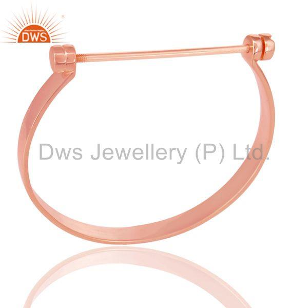 14K Rose Gold Plated 925 Sterling Silver Handmade Screw Lock Openable Bangle