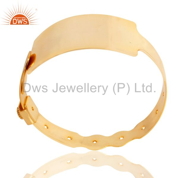 14K Yellow Gold Plated 925 Sterling Silver Handmade Art Wide Bangle Jewelry