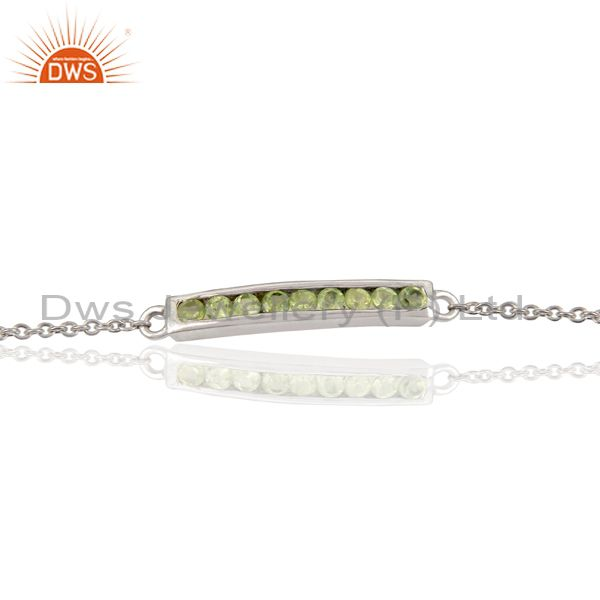 Handmade white rodium 925 sterling silver peridot chain adjustable bracelet