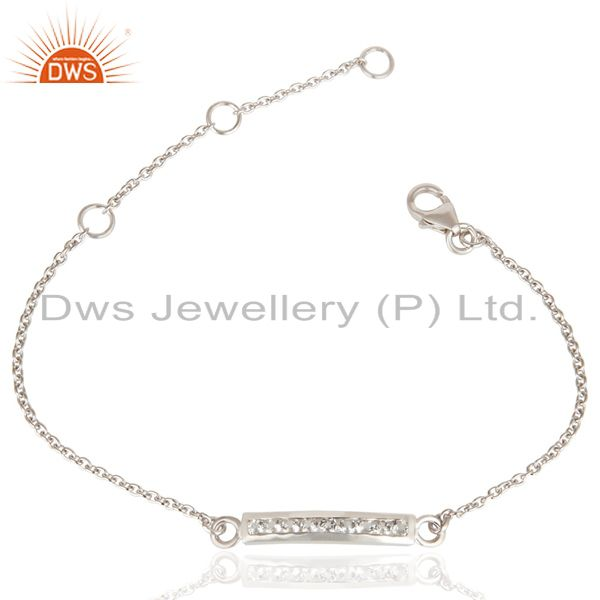 Handmade white rodium 925 sterling silver white zircon chain adjustable bracelet