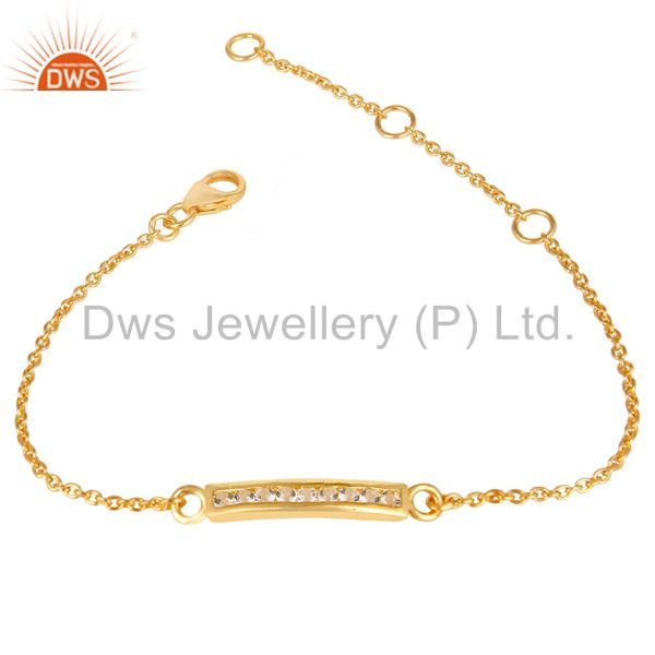 14K Gold Plated 925 Sterling Silver White Zirconia Chain Adjustable Bracelet